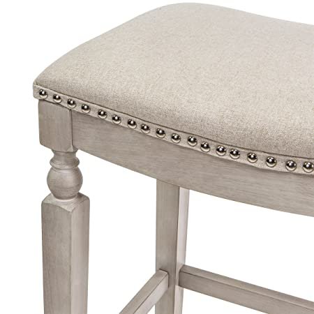 Barton Isabel Padded Counter Saddle Backless Indoor Outdoor Bar Stool 28.5 Height