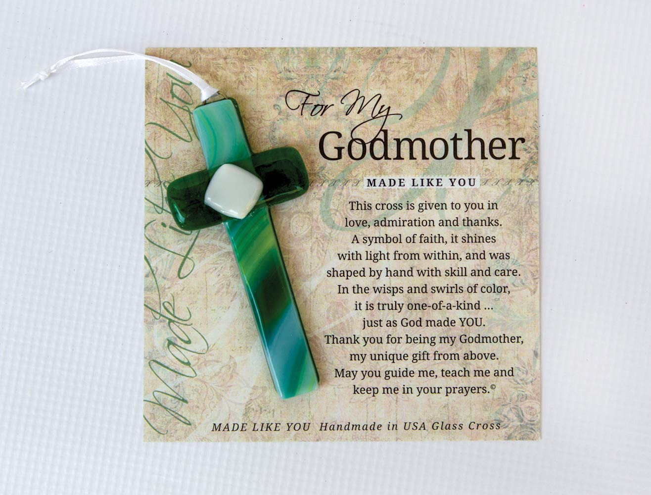 Grandparent Gifts For My Godmother Handmade Green Glass Cross Size 4 inches