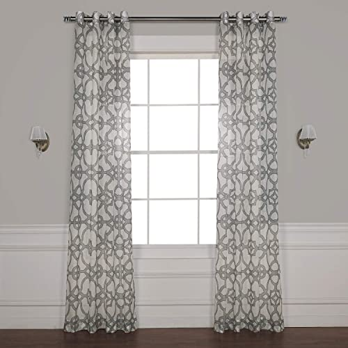 HPD Half Price Drapes SHCH-PS16073B-108-GR Grommet Printed Faux Linen Sheer Curtain 1 Panel , 50 X 108, Seaglass Grey