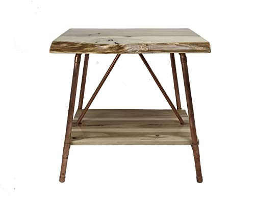 Niangua Furniture Live Edge Hickory Rustic End Table with Copper Pipes