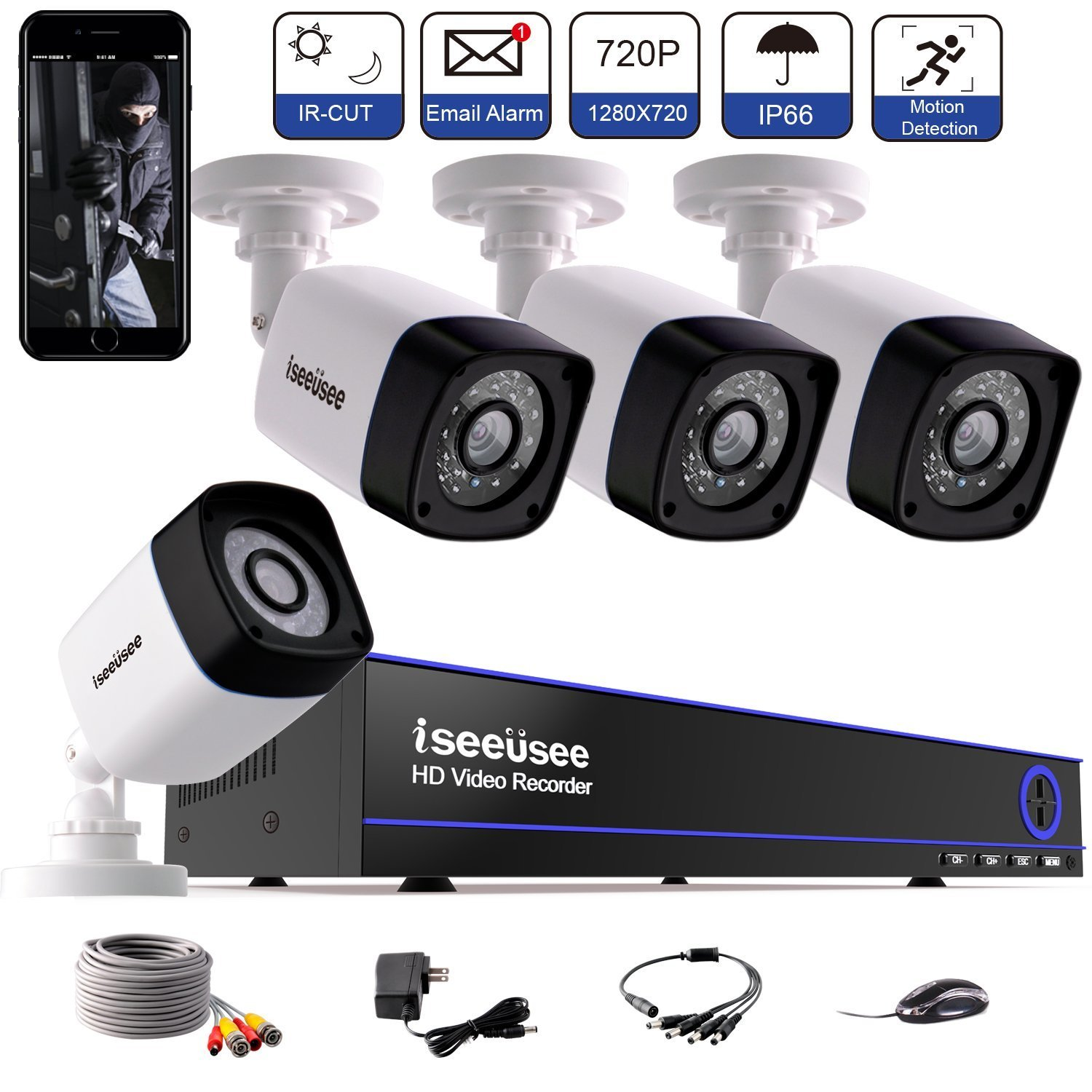 ISEEUSEE Security Camera 4CH 1080N Surveillance DVR System and (4) 720P 2.0MP HD-TVI Weatherproof CCTV Cameras, with Remote Access, Motion Detection-NO HDD