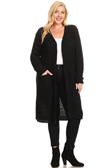 201761ccd3a79 Bubble B Women s Plus Size Long Sleeve Open Front Knit Cardigan Black 1X2X