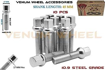 Venum wheel accessories 5 Pc Chrome 12x1.5 Ball Seat Lug Bolts 50 mm Extended Shank Length Radius Works with Mercedes Benz W//Factory Wheels Chasis W123 W124 W201 W202 W203 W208 W209 W210 R107