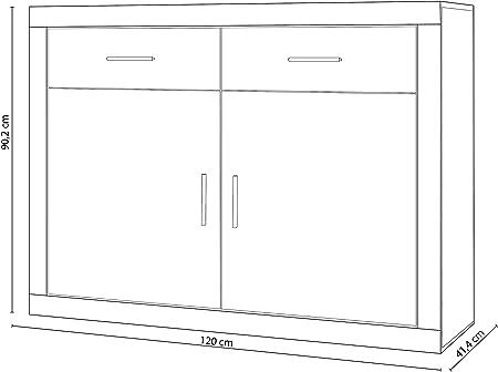 HomeSouth - Mueble Aparador 2 Puertas + 2 cajones, Buffet para Cocina y Comedor, Modelo Lara, Acabado en Color Cambria y Grafito, Medidas: 120 cm (Largo) x 41,4 cm (Fondo) x 90,2 cm (Alto)