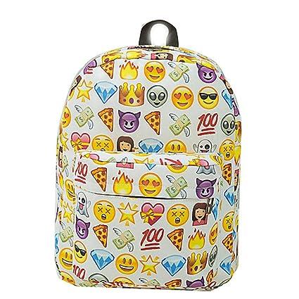 Sannysis Mochilas Escolares Juveniles para Chicas Emoji Mochilas Mujer Viaje Bolsas con Cremallera, Emoji Carteras