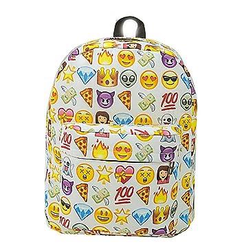 Sannysis Mochilas Escolares Juveniles para Chicas Emoji Mochilas Mujer Viaje Bolsas con Cremallera, Emoji Carteras de expresión (Blanco): Amazon.es: ...
