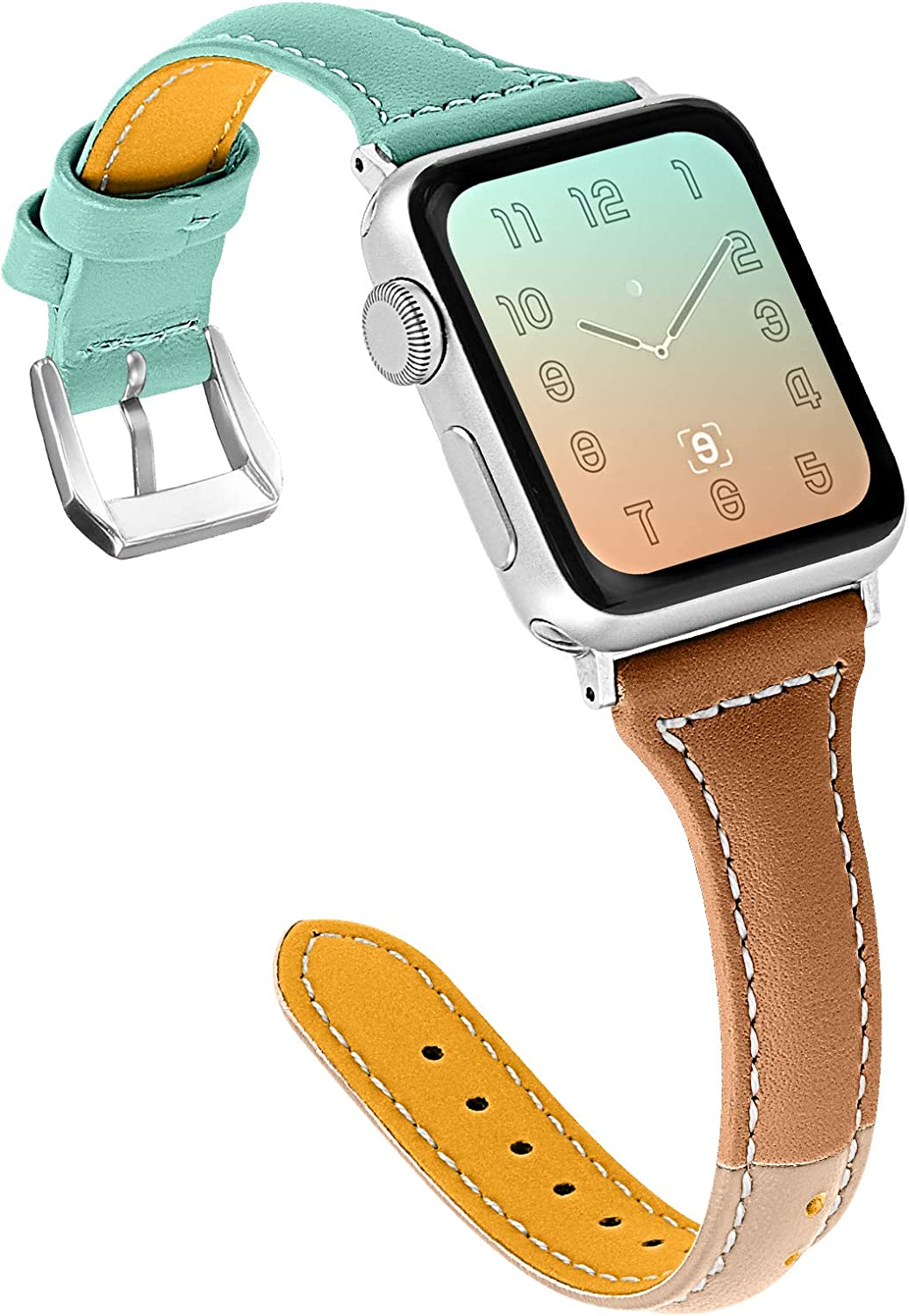 OULUCCI Compatible for Apple Watch Band 38mm 40mm, Genuine Leather Replacement iWatch Wristband Strap with Metal Buckle for iWatch SE Series 6 5 4 3 2 1, Slim Design for Women Men