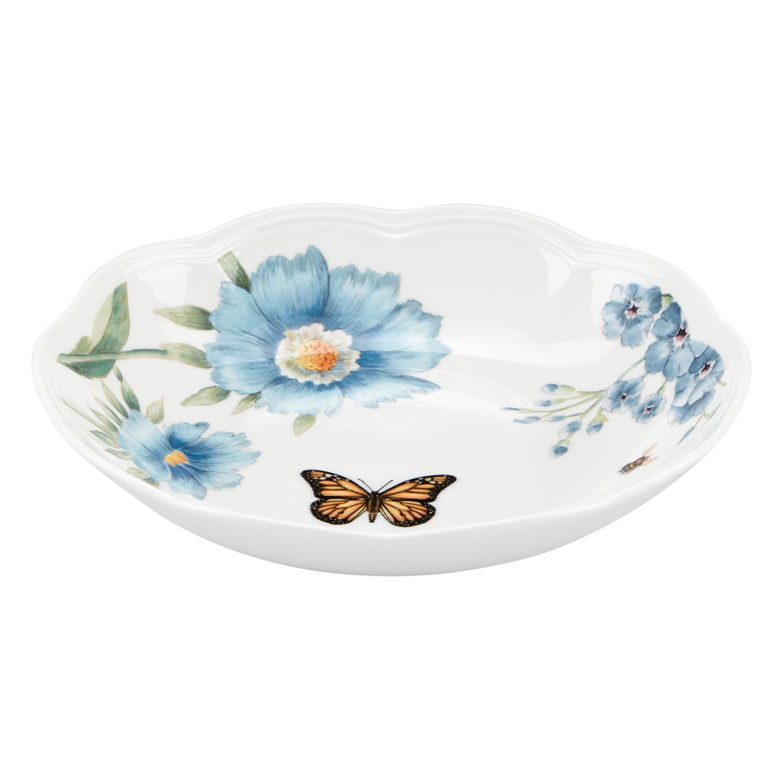 Lenox Butterfly Meadow Blue Pasta Bowl, White