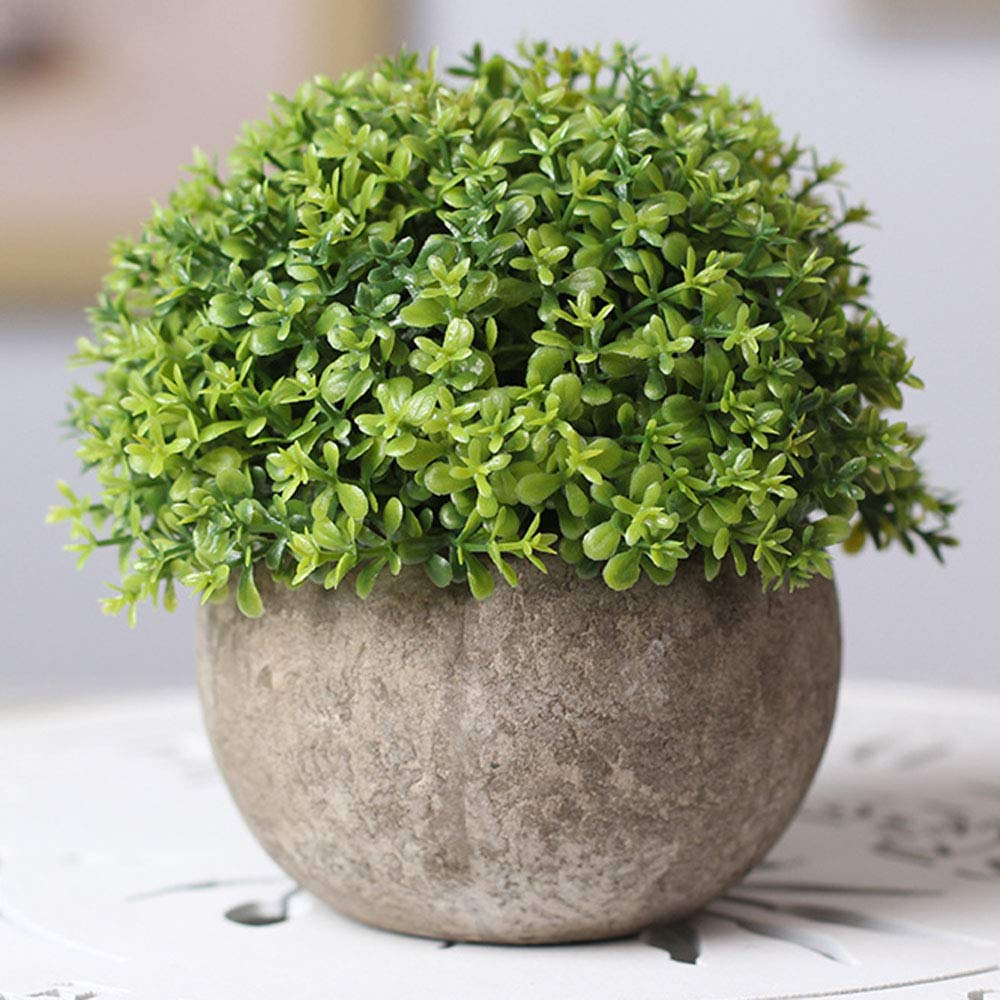 JulaJuyo Mini Artificial Plants, Plastic Fake Plant Green Grass with Gray Pots for Home Decoration, Small Artificial Greenary Potted Foliage Plants for Home Table or Office Desk (Green)