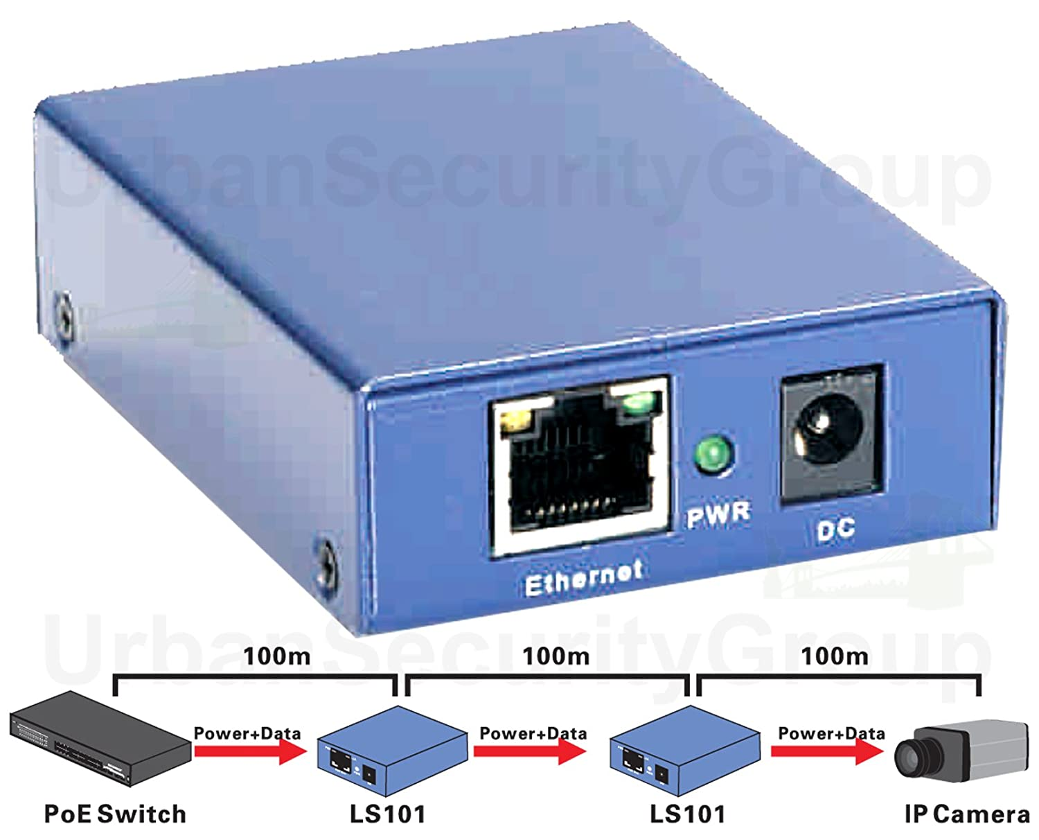 Usg Power Over Ethernet Extender Repeater Signal Dc And Digital Data Connection Circuit Schematic Booster Extend Poe 330 Feet Ieee 8023af At True Plug Play Auto Detects Devices