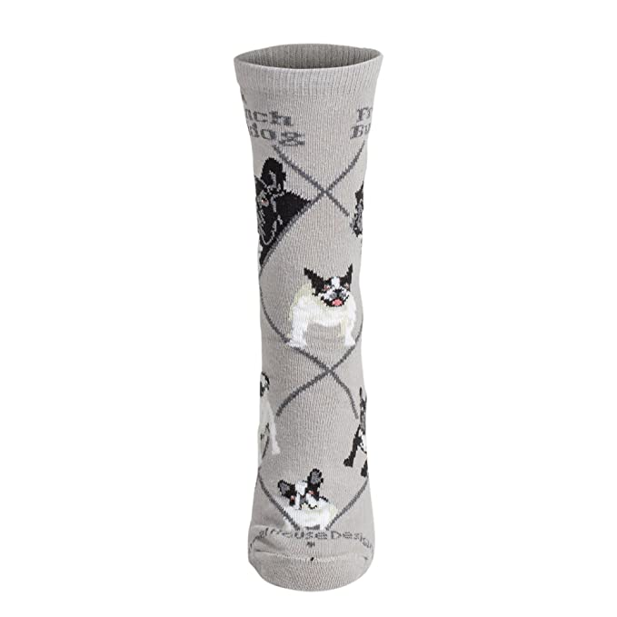 French Bull Dog on Gray Lightweight Stretch Cotton Crew Sock Adult Unisex Size 10-13