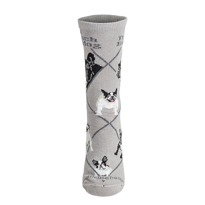 Calcetines en color gris con diseño de bulldog francés: Amazon.es: Ropa y accesorios