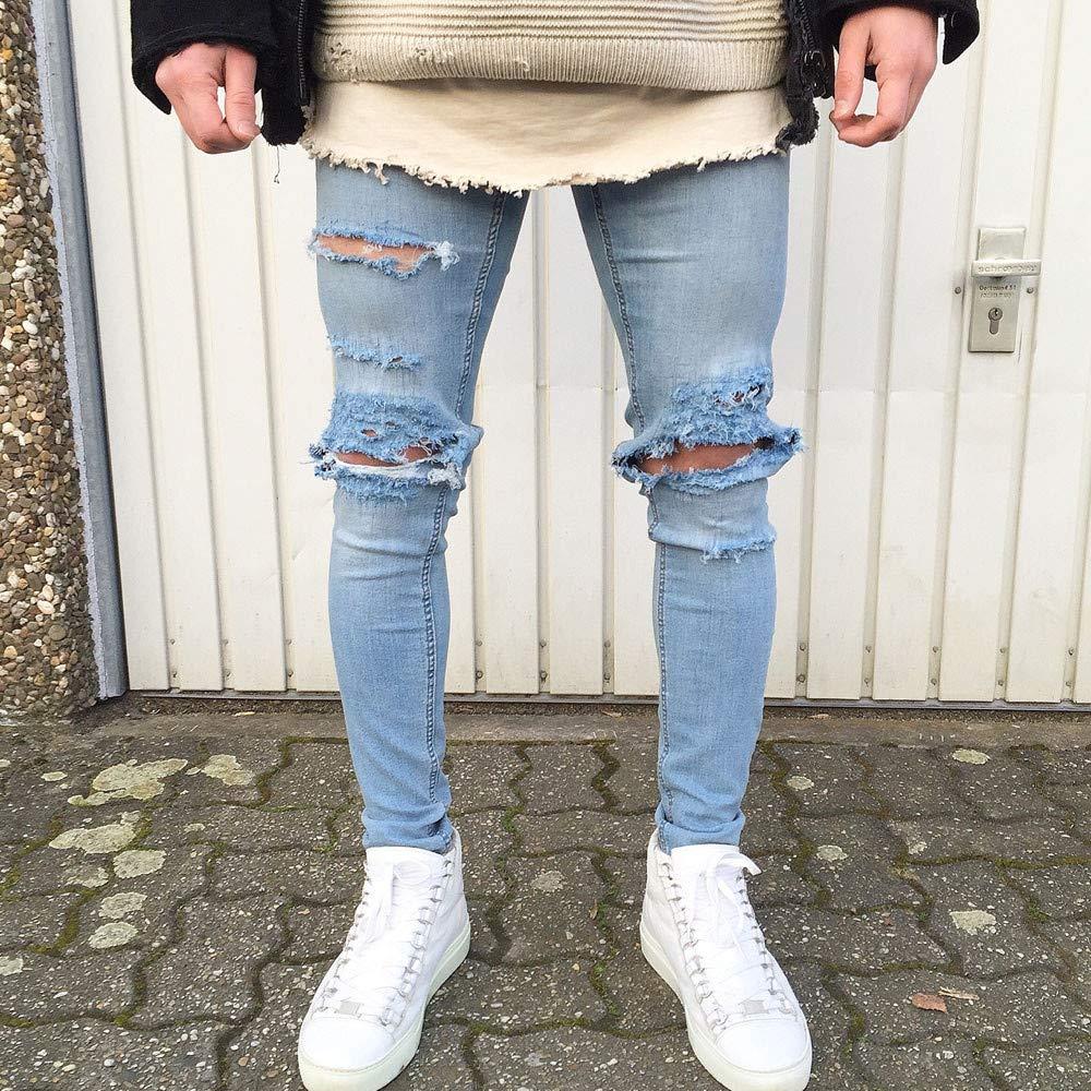 TheRang Mens Stretchy Skinny Biker Jeans Destroyed Taped Slim Fit Denim Pants