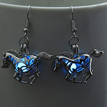 HENGSONG Bleu Ciel Cheval Lumineux Silver Plating Tête de Crâne Halloween  Pendentif Crochet Oreille Accessoires Earrings