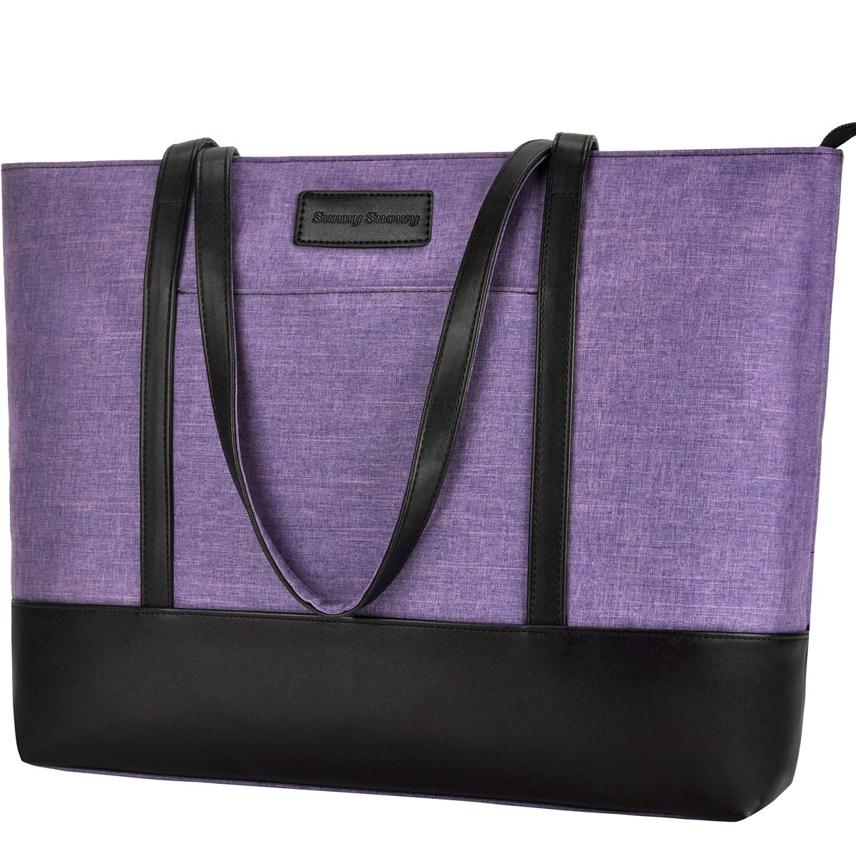 15-15.6 Laptop Tote Bag,Lightweight Water Resistant Nylon Laptop Bag for Woman[Purple]