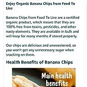 Alimentos para los chips de banana orgánicos certificados en ...