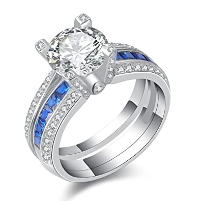 Newshe Jewellery Round Blue Cz 925 Sterling Silver Wedding Band Engagement  Ring Sets Size 5