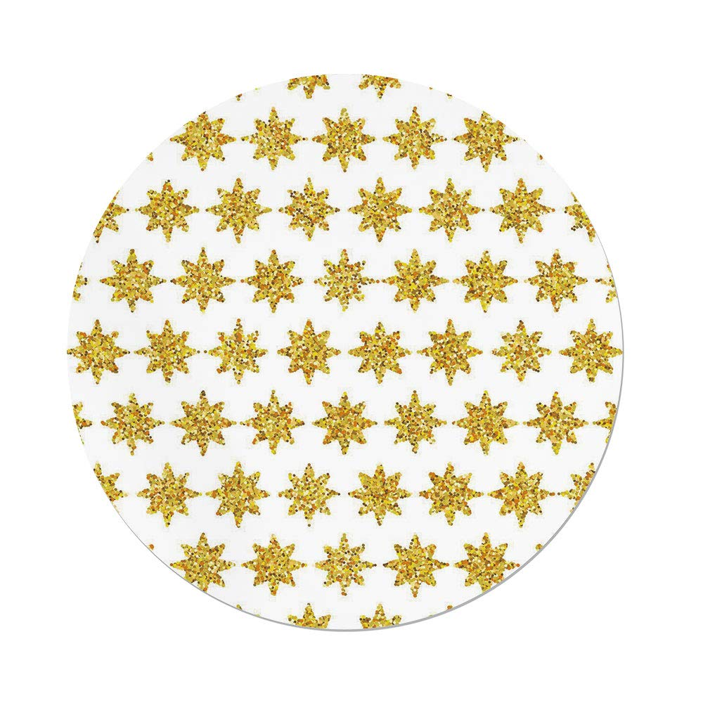 iPrint Polyester Round Tablecloth,Gold and White,Snowflake Like Party Themed Floral Stars with Geometrical Edges Image,Yellow and White,Dining Room Kitchen Picnic Table Cloth Cover,for Outdoor Indoor by iPrint
