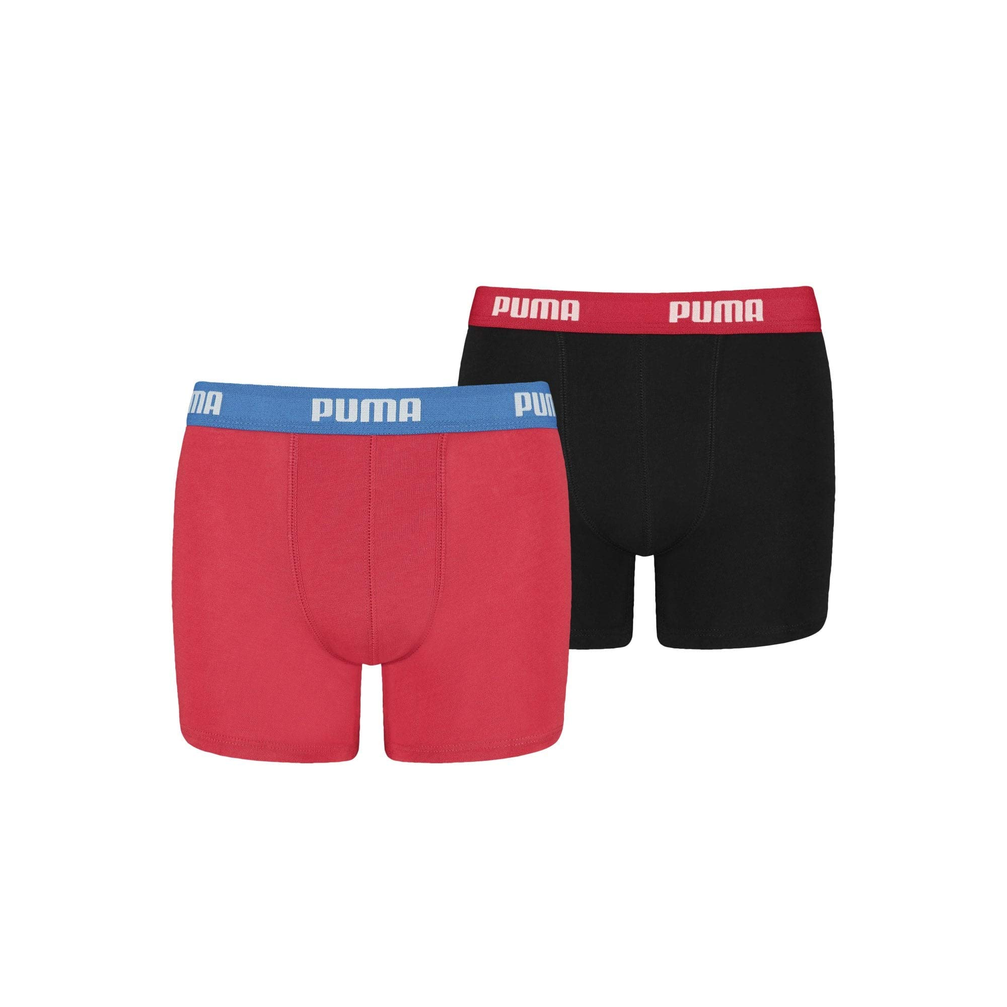 PUMA Boy's 2-Pack 360 Logo Boys Boxer Briefs, Red/Black Age 11-12 Red/Black
