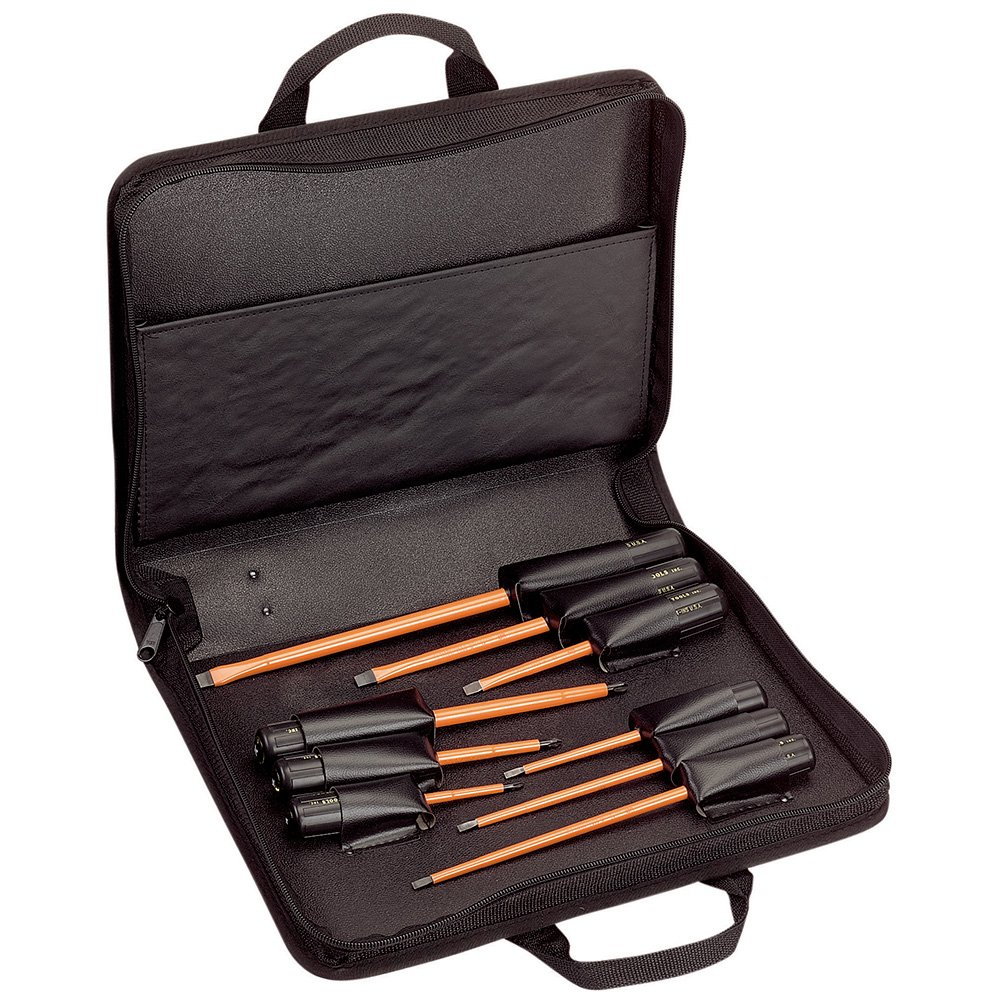 Klein Tools 33528 Insulated Screwdriver Kit with Carrying Case, 1000 V, Cushion Grip, 9-Piece by Klein