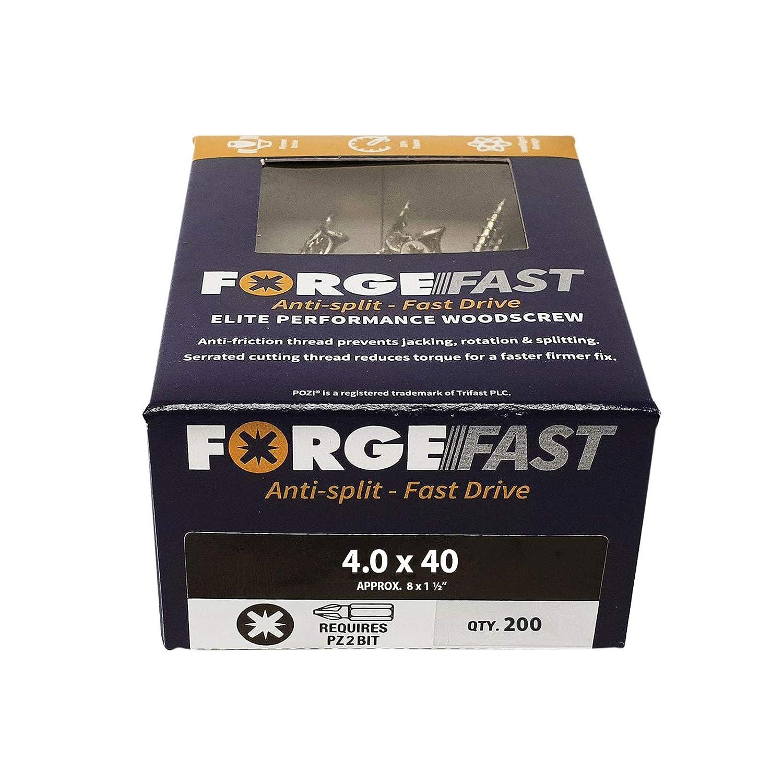 Forgefix FORFFP6120Y color plateado plateado Organizador de tornillos de madera FORFFP1000Y Forgefast Pozi compatible con Elite Performance