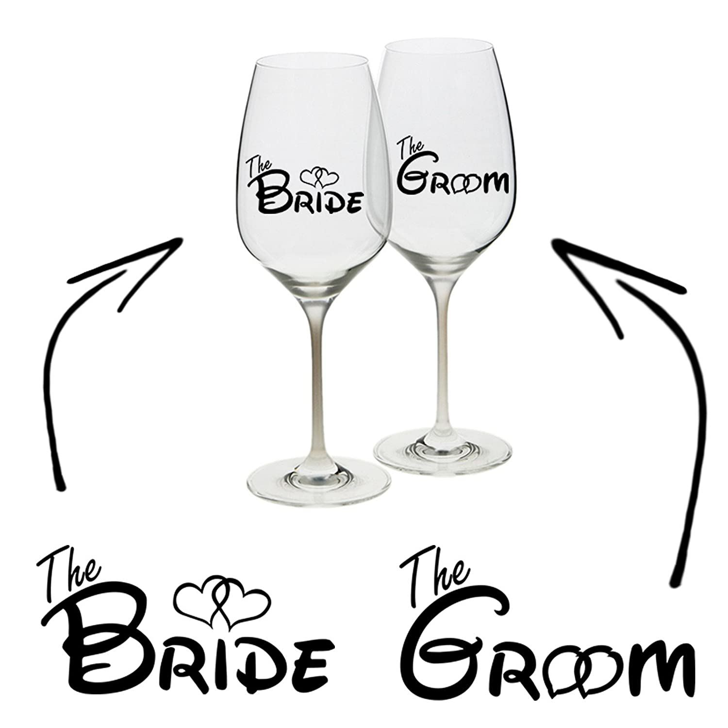 04474fce775 Epic Modz - Bride Groom Vinyl Decal Sticker Wine Glass Cup Mug Wedding Hen  Stag Gift Unique Personalised Custom: Amazon.co.uk: Toys & Games