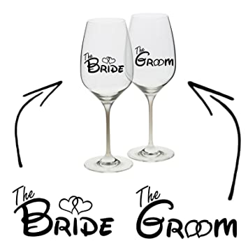Epic modz bride groom vinyl decal sticker wine glass cup mug wedding hen stag gift