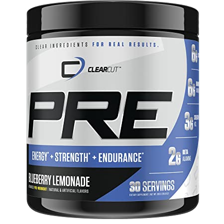 ClearCut PRE, Advanced Pre-Workout with Citrulline Malate, Creatine, BCAAs, Choline, Beta Alanine, 30 Servings Blueberry Lemonade