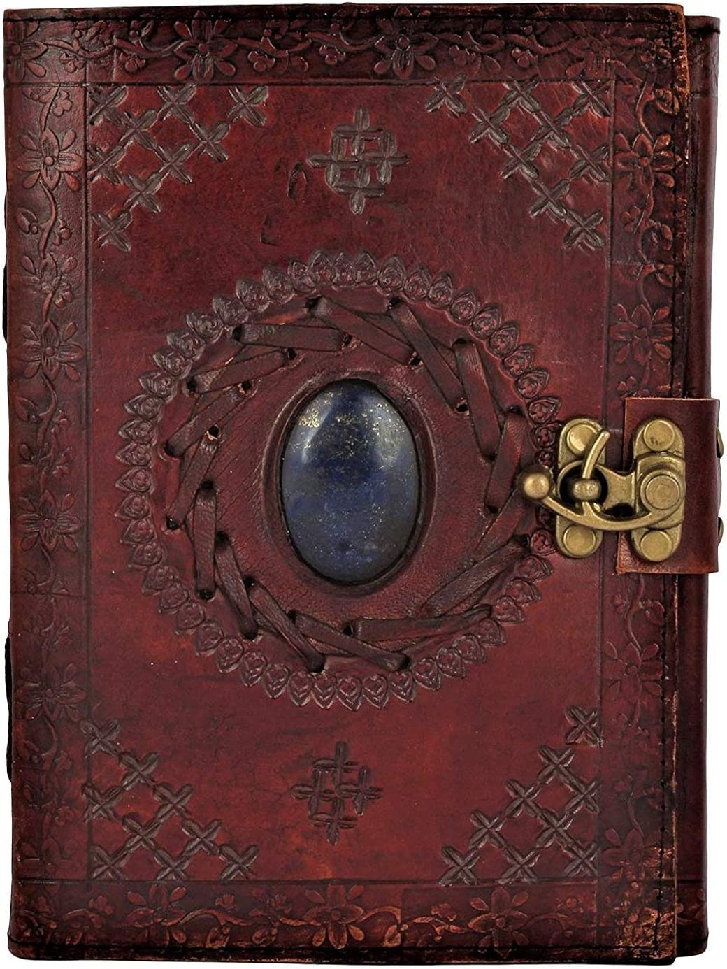 TUZECH Handmade Genuine 100% Pure Leather Vintage Diary Leather Journal for Office Home Daily Use with C Lock 7 Inches (Brown)