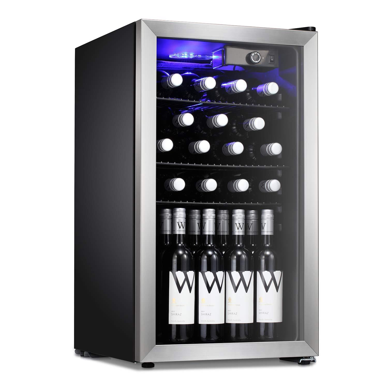 Antarctic Star Wine Cooler Beverage Refrigerator 26 Bottles Beer Wine Cellar Fridge Freestanding Chiller with Stainless Steel & Quiet Operation Compressor Counter Top Glass Door Office/Dorm/Silver