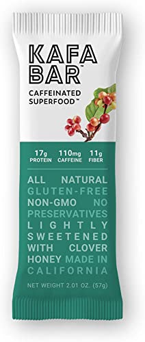 Kafa Bar Original – Caffeinated Protein Bar – 17g Protein, 110mg Caffeine, 11g Fiber – All Natural – Non GMO – Gluten Free – Only 5g Sugar from Organic Honey – 10 Bars Per Box