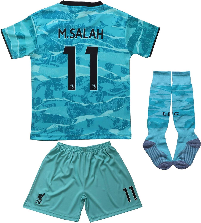 BIRD BOX 2020/2021 Liverpool Away #11 Mo Salah Blue Soccer Kids Jersey Shorts Socks Set Youth Sizes