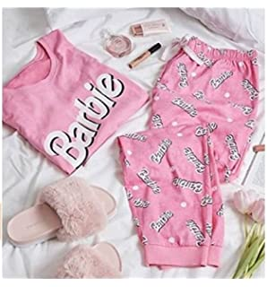 Primark Ladies Girls Womens Barbie Pink Pajamas Pyjama Tshirt T Shirt PJ Set UK S-