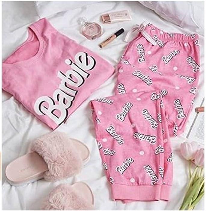 Ladies Girls Womens Barbie Pink Pajamas Pyjama Tshirt T Shirt PJ Set UK S-XL (UK L 14-16)