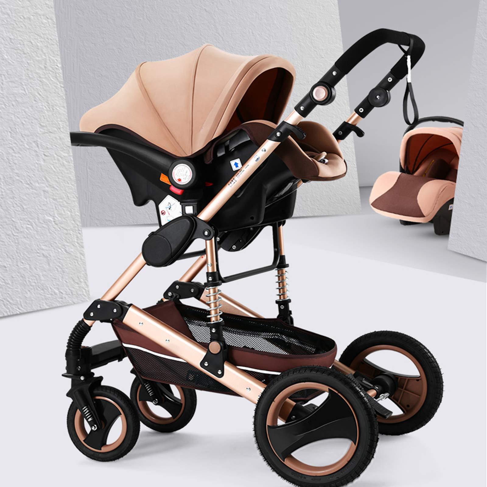Happybuy 3 in 1 Foldable Luxury Baby Stroller Travel System with Baby Basket Anti-Shock Springs Newborn Baby Pushchair Adjustable High View Pram Travel System Infant Carriage Pushchair(3in1/Gold)