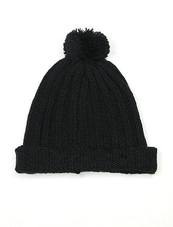 Black Beanie hat for women -Womens pull On bobble pom pom knitted winter  hats for 1e5f7b71676