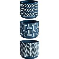 Kit Cachepot Azul Em Cimento Com 3 Peças Mart Azul