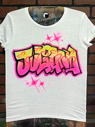 1b0a3eea9 Amazon.com: Personalized Airbrush T shirt, Sweatshirt, or Hoodie - Graffiti  Name Design Hearts: Handmade