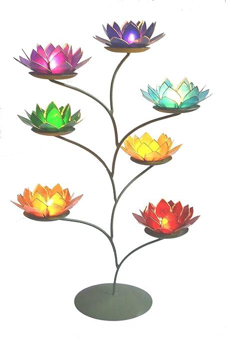 963b558195 Beautiful Large Lotus Flower Chakra Rainbow Tea Light Candle Holder Set  with Tree Display Stand