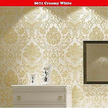 Modern Non Woven Exquisite Embossed Crochet Flower 3d Wallpapers Living Room Kitchen Tv Background Wallpapers For Walls 33 X 1 75ft Gold Wallpaper Amazon Canada