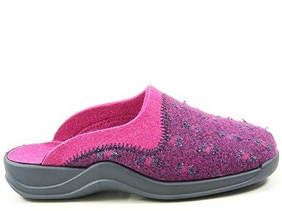 Rohde 2300 Vaasa-D Schuhe Damen Hausschuhe Pantoffeln Filz Weite G, Schuhgröße:43;Farbe:Violett