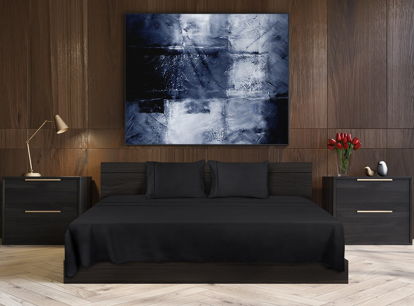 Utopia Bedding Soft Brushed Microfiber Wrinkle Fade and Stain Resistant 4-Piece Full Bed Sheet Set - Black