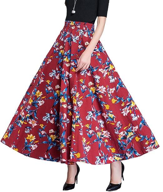 584792893e Femirah Women's Elastic Waist Cotton Floral Long Maxi A Line Skirt (Waist:  60cm-