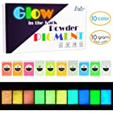 Glow in The Dark Pigment Powder - Epoxy Resin Color Pigment Dyes for DIY Slime Coloring Kit - Luminous Skin Safe Long…
