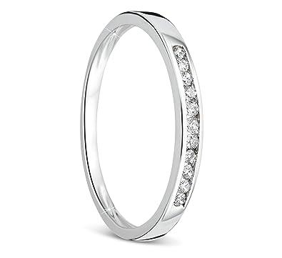 Orovi anillo de mujer compromiso/aniversario 0.10 Quilates diamantes en oro blanco 9 kilates ley 375: Amazon.es: Joyería