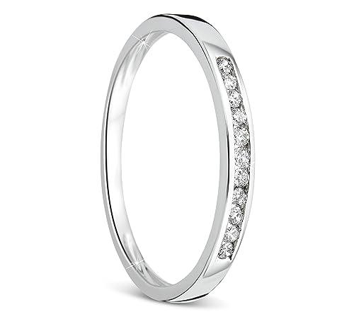 Orovi anillo de mujer compromiso/aniversario 0.10 Quilates diamantes en oro blanco 9 kilates ley