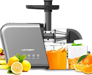 Juicer Machines Slow Speed, Cold Press Slow Masticating Juicer Extractor Machine, Quiet Motor, with Cleaning Brush, Reverse Function, BPA-Free, for Celery Carrot Kale Spinach Fruits Vegetables