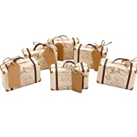 50pcs Mini Suitcase Favor Box Party Favor Candy Box, Vintage Kraft Paper with Tags and Burlap Twine for Wedding/Travel Themed Party/Bridal Shower Decoration