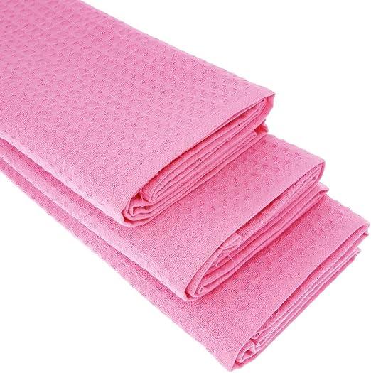 3 x Paños de algodón 100% Suela de piqué en color rosa/paños de ...