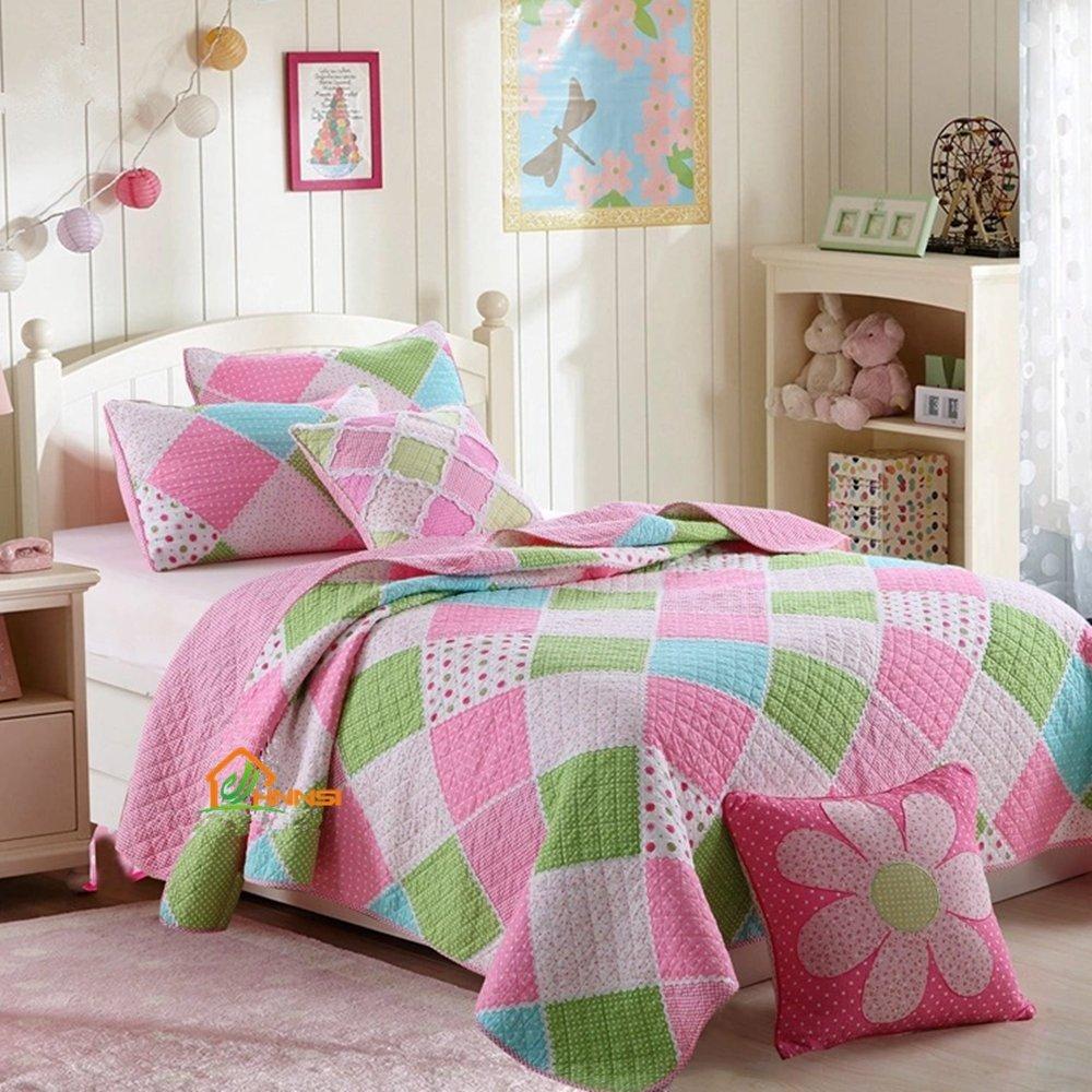HNNSI 3 Piece Cotton Kids Girls Quilt Comforter Set Queen Size, Children Teens Girls Bedspread Bedding Sets(Pink Blue Green White Patchwork)